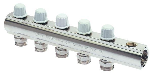 Коллектор прямой линии с запорными кранами с микрометрической регулировкой.