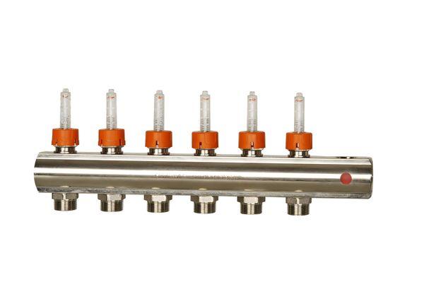 Коллектор прямой линии с расходомерами.