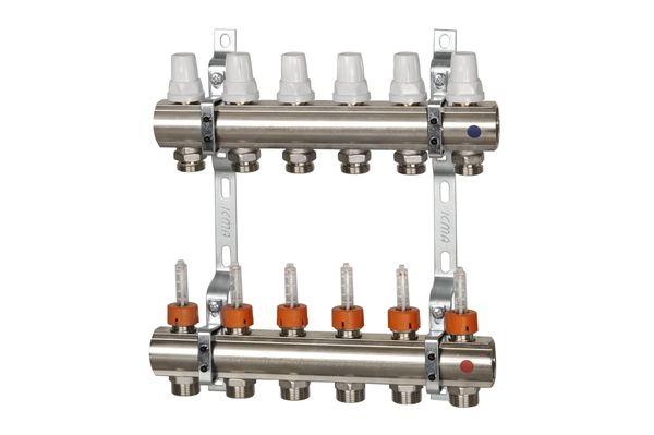 Коллектор с расходомерами, регулировка ручная или терморегулирующая.