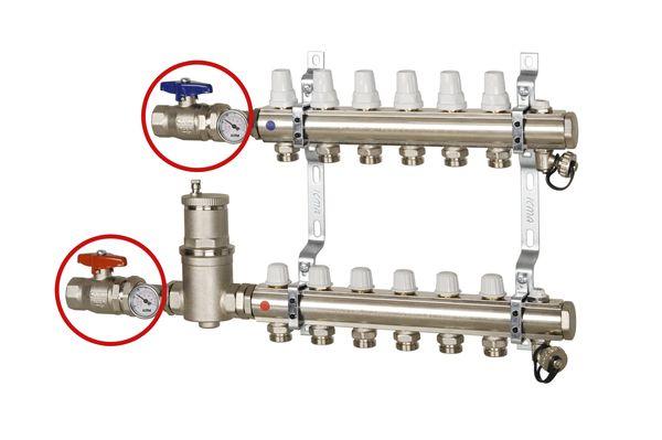 Коллектор, регулировка ручная или терморегулирующая.